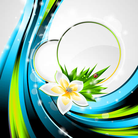 springs: background design on a spring and nature theme with flower