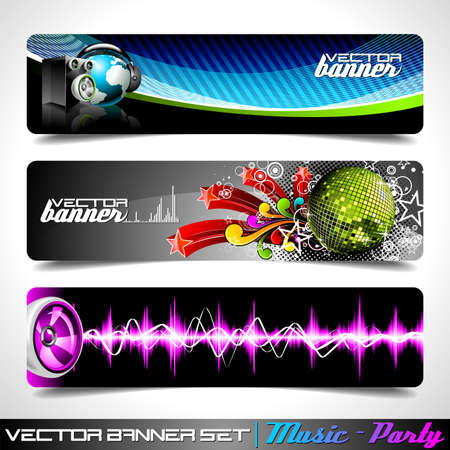 soundwave: Vector banner set on a Music and Party theme.