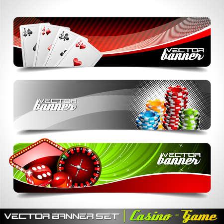 ruleta: Banner de vectores en un tema de Casino.