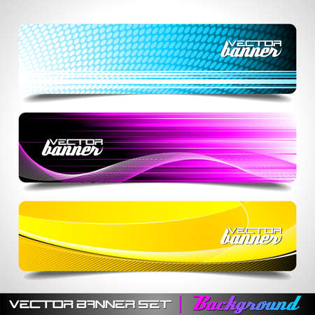 Three abstract vector banner background Illustration