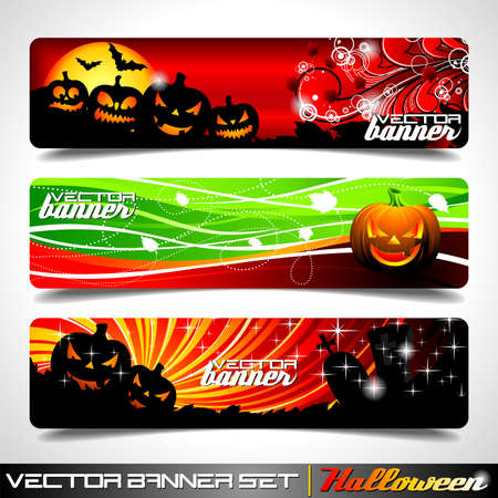 Vector banner set on a Halloween theme. Vector