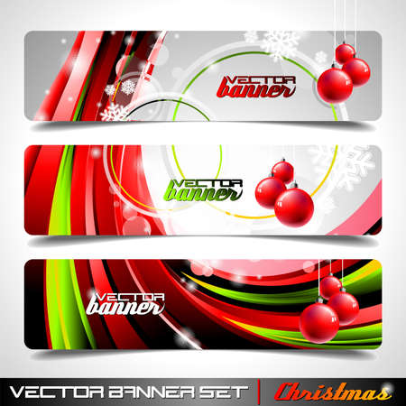 Vector banner set on a Christmas theme. Vector