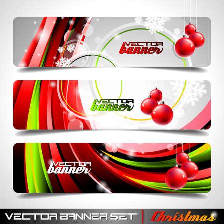 Vector banner set on a Christmas theme.
