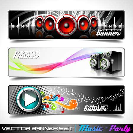 music banner: Vector banner instellen op een thema muziek en partij. Stock Illustratie