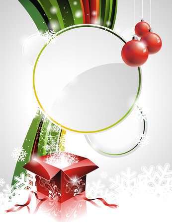 Vector Holliday illustration with shiny Christmas gift box  box.
