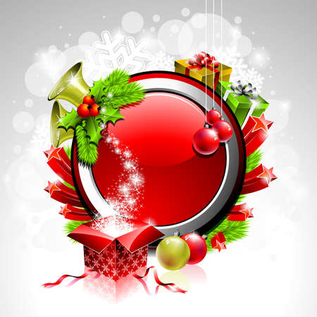 illustration on a Christmas theme with gift box and shiny holiday elements on red background. Vector
