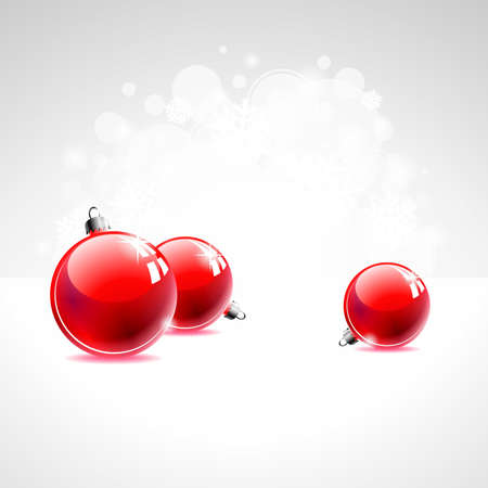 Holiday illustration with red Christmas ball on white background. Illustration
