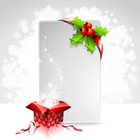 holiday illustration on a Christmas theme with gift box and clear banner for your text. Vector