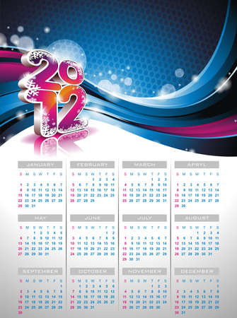 calendar design 2012 on blue background. Vector