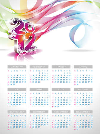 calendar design 2012 on clear background. Vector