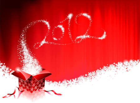 Happy New Year 2012 design with magic gift box on a red background.