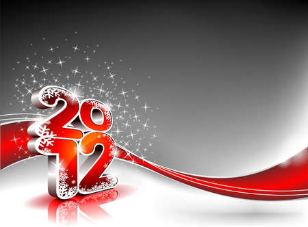 Happy New Year design with shiny 2012 text on a wave background. Vector