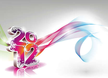 Happy New Year design with shiny 2012 text on a wave background. Stock Vector - 11242138