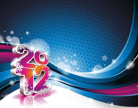 Happy New Year design with shiny 2012 text on a wave background.