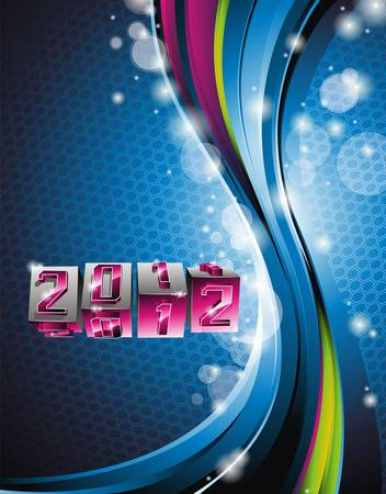 Happy New Year 2012 design with swirl cubes on blue background. Stock Vector - 11242134