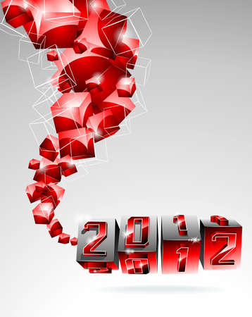 Happy New Year 2012 design with swirl red cubes on a clear background. Vector