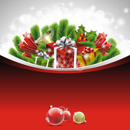Holiday illustration on a Christmas theme with gift box and shiny holiday elements on red background.