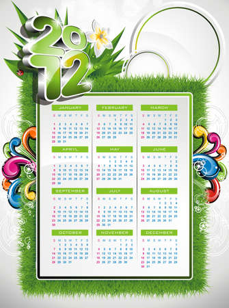 calendar design 2012 with nature design Vector