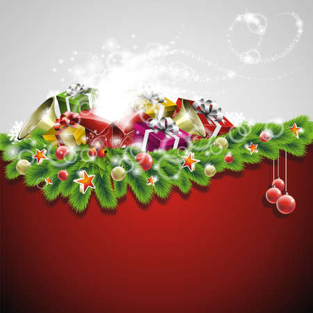 illustration on a Christmas theme with gift boxes and shiny holiday elements on red background. Ilustracja