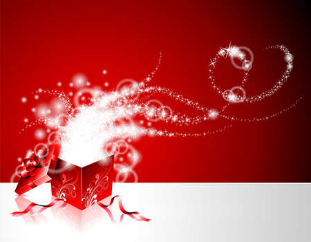 illustration on a Christmas theme with gift box on red background. Illustration