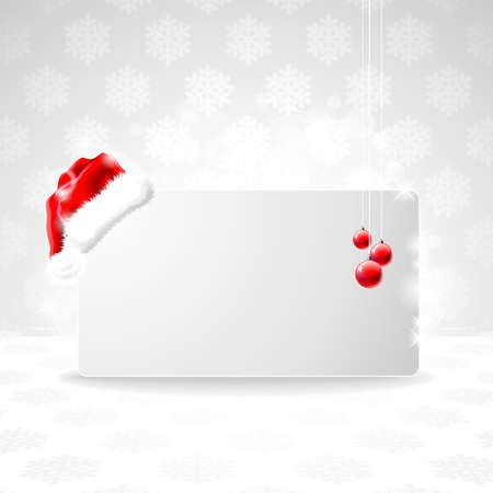 illustration on a Christmas theme with Santa Claus cap on clear banner for your text. Vector