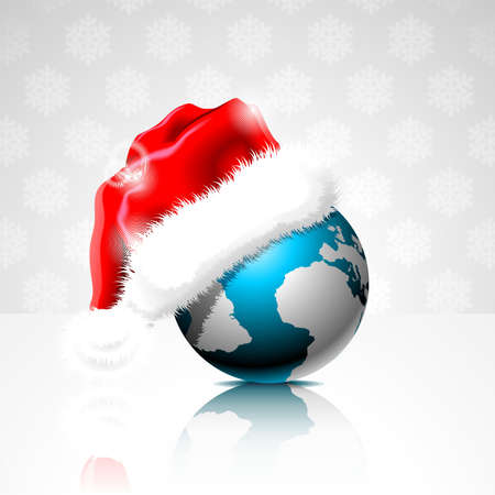 illustration on a Christmas theme with globe and santa claus cap. Vector
