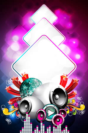 Abstract vector shiny background with speaker and design elements. Ilustracja