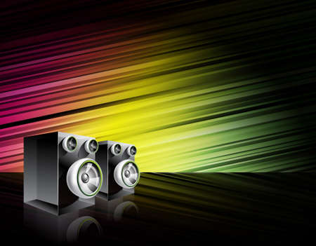 speaker box: Abstract shiny background with speakers. Illustration