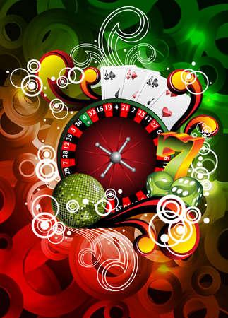 Ilustración vectorial de los juegos de azar con la ruleta de casino y los elementos
