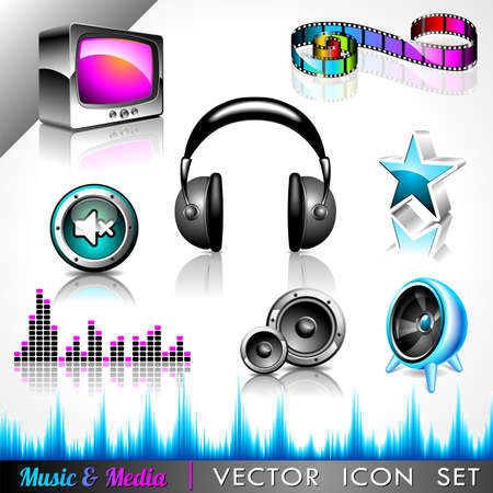 header image:  icon collection on a music and media theme. Illustration