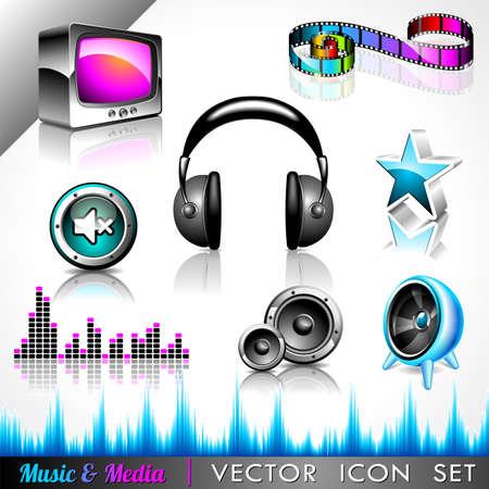 botones musica: icono de la colecci�n en un tema de la m�sica y los medios de comunicaci�n. Vectores