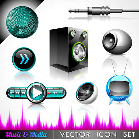 icon collection on a music and media theme. Stock Vector - 12928461