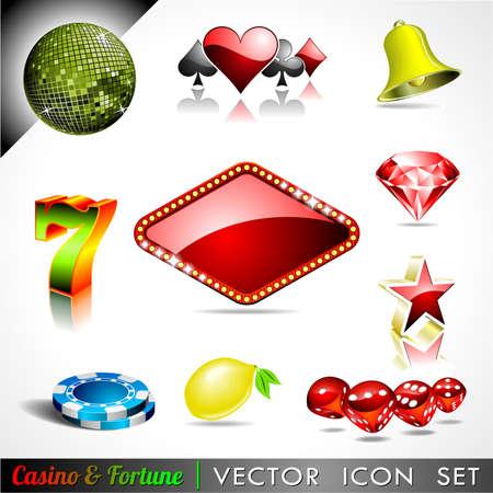 ruleta de casino: icono de la colecci�n en un casino y el tema de la fortuna. Vectores