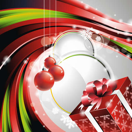 Vector Christmas illustration with gift box  Vector