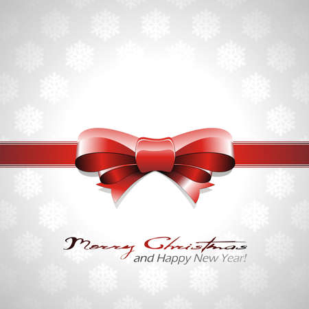 Christmas background with red bow and ribbon
