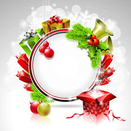 Vector illustratie op een kerst thema met geschenkdoos en glanzend vakantie elementen op glanzende achtergrond