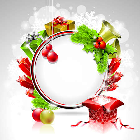 Vector illustration on a Christmas theme with gift box and shiny holiday elements on shiny background  Vector