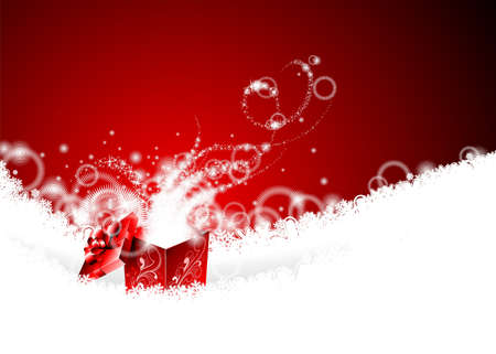Vector Christmas illustration with magic gift box on snowflakes