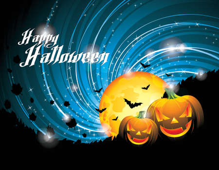 3d halloween: Halloween Party Background with Pumpkins and Moon