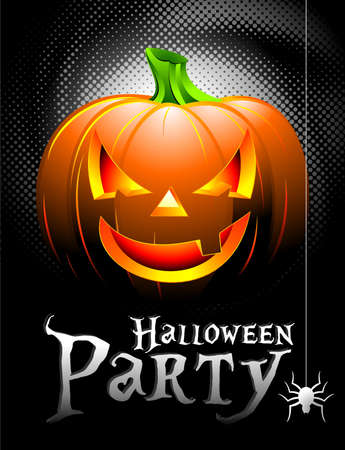 3d halloween: Halloween Party Background with Pumpkin