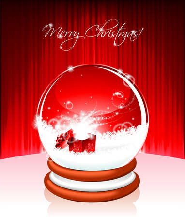 Vector Holiday illustration on a Christmas theme with snow globe against and magic gift box on red background. Vector