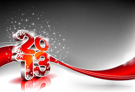 Vector Happy New Year design with shiny 2013 text on a wave background.