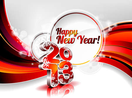 Vector Gelukkig Nieuwjaar ontwerp met glanzende 2013 tekst op een golf achtergrond. Stock Illustratie