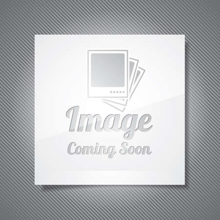Coming Soon illustration with abstract picture frame on grey background.