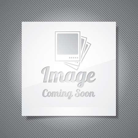 Próximamente ilustración con marco de foto abstracta sobre fondo gris.