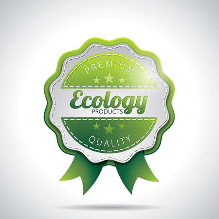 Vector Ecology Product Labels Illustration with shiny styled design on a clear background. EPS 10. Ilustracja