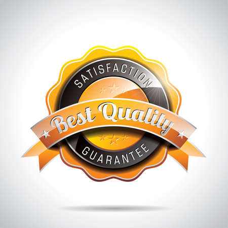 Vector Best Quality Labels Illustration with shiny styled design on a clear background. EPS 10. Ilustracja