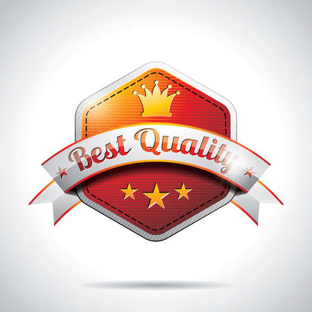 Vector Best Quality Labels Illustration with shiny styled design on a clear background. EPS 10. Stock Vector - 17987571