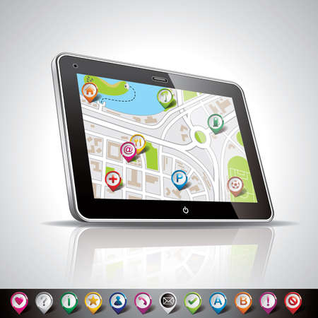 technology styled illustration with shiny pda device and pointer set