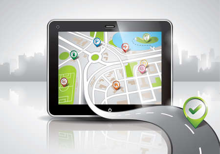 gps device: map illustration with shiny pda device and a good way